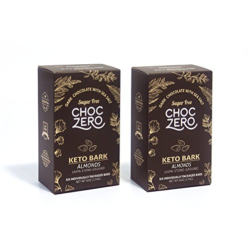 ChocZeros Keto Bark, Dark Chocolate Almonds with Sea Salt. 100% Stone-Ground, Sugar Free, Low Carb. No Sugar Alcohols, No Artificial Sweeteners, All Natural, Non-GMO (2 boxes, 6 bars/each)