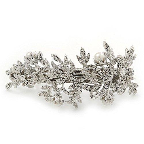 Bridal Wedding Prom Silver Tone Crystal Diamante & Simulated Pearl Floral Barrette Hair Clip Grip - 85mm Across