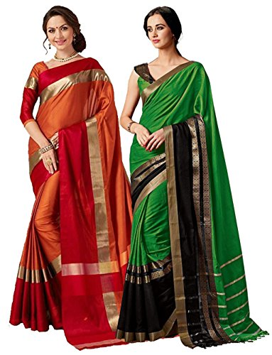 - ELINA FASHION Pack of Two Sarees for Indian Women Cotton Art Silk Printed Weaving Border Saree (Multi 5)