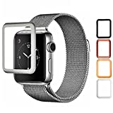 Josi Minea Apple Watch [42mm] 3D Tempered Glass Screen Protector with Edge to Edge Coverage Anti-Scratch Ballistic LCD Cover Guard Premium HD Shield for Apple Watch Series 1 - 42mm [ Silver ]