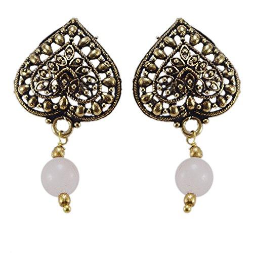 silvesto Inde Quartz Blanc Perles Boucles d'oreille à tige en laiton Sz 34mm PG 22681