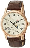 Orient Men's 'Sun and Moon Version 3' Japanese Automatic Stainless Steel and Leather Casual Watch, Color:Brown (Model: FAK00001Y0)