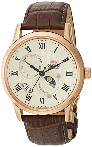 Orient Men's Sun and Moon Version 3 Stainless Steel Japanese-Automatic Watch with Leather Calfskin Strap, Brown, 22 (Model: FAK00001Y0)
