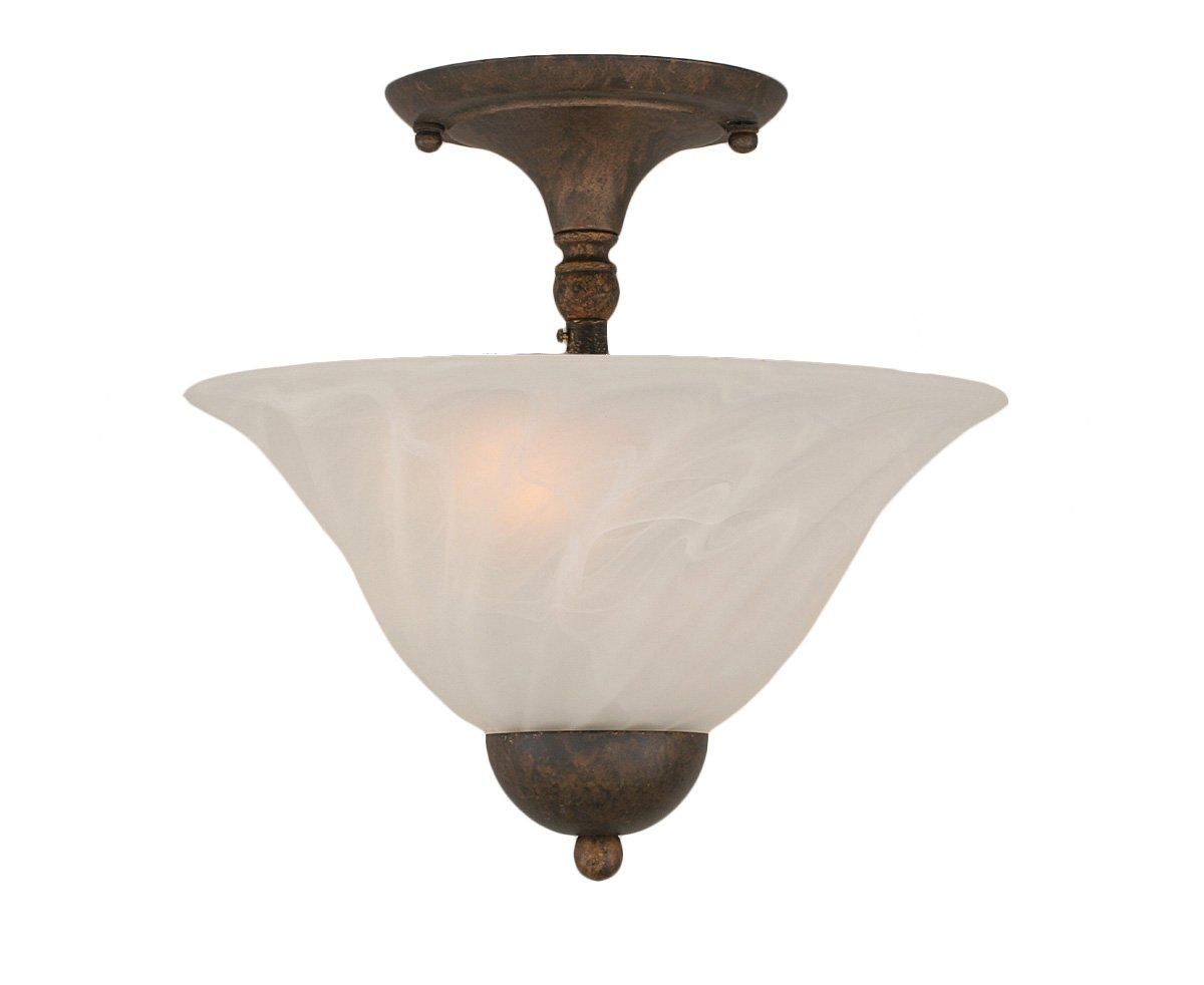 Toltec Lighting 120-BRZ-700 Two-Bulb Semi-Flush Mount Bronze Finish with Amber Crystal Glass 12-Inch