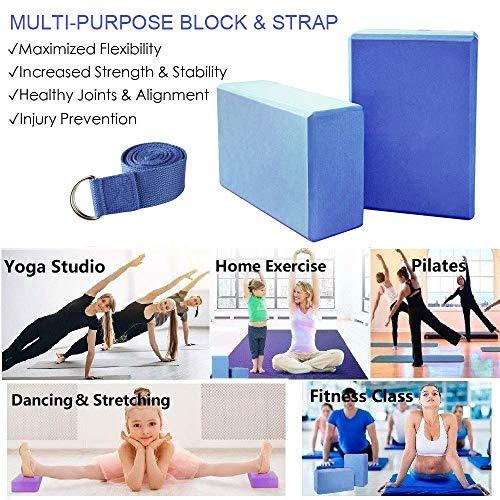 KidsHobby 2pcs Bloques de Yoga+Correa - Bloque de Espuma EVA de Alta Densidad para Hacer Ejercicios en Casa-Set de Yoga para Mejorar Fuerza y ...
