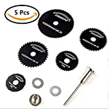 CBTONE 5 PCS HSS Saw Disc Wheel Circular Cutting Saw Blades Cutting Disc Mandrel Rotary Cut-Off Wheel with Mandrels For Dremel Fordom Drills Rotary Tools