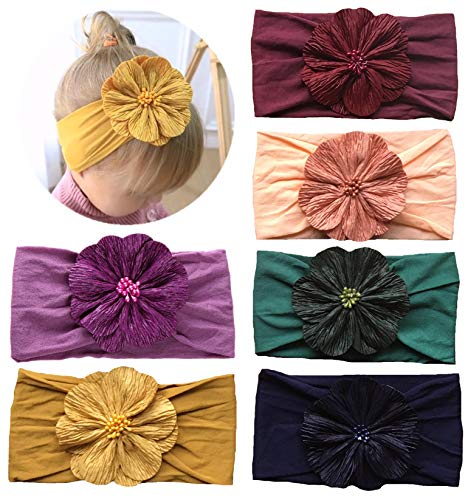 Qandsweet Baby Girl's Headbands and Bows Hair Accessories (6 Pcs Beads Flower)