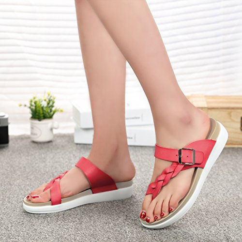 Women's Zicoope Toes Sandals Open Beach Summer Flat Pink ZqxdqrU