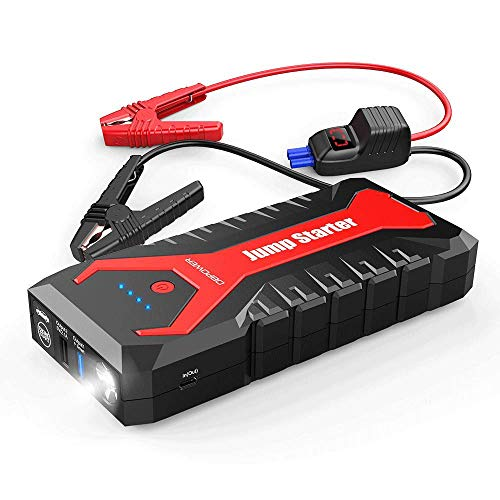 DBPOWER 2000A 20800mAh Portable Car Jump Starter (up to 8.0L Gas/6.5L Diesel Engines) Auto Battery Booster Pack with Dual USB Outputs, Type-C Port, and LED Flashlight (Ultimate Speed Portable Jump Starter With Power Bank)