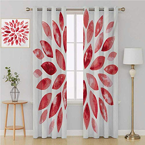 (Floral Gromit Curtains Window Curtains for Living Room,Watercolor Style Flower Buds Petals Nature Beauty Blossom Artistic Boho Flourish Print Curtain Holdback 96 by 84 Inch Ruby Red)