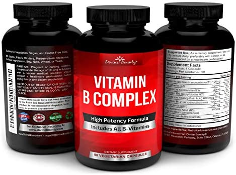 Super B Complex Vitamins - All B Vitamins Including B12, B1, B2, B3, B5, B6, B7, B9, Folic Acid - Vitamin B Complex Supplement - Support Healthy Energy Metabolism - 90 Vegetarian Capsules