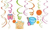 """Amscan Sun-Sational Summer Luau Party Fun in The Sun Swirl Decorations (12 Pack), Multi Color, 10 x 9.5"""""""