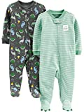 Simple Joys by Carter's Boys' 2-Pack Cotton Footed Sleep and Play, Dino/Stripe, 6-9 Months: more info