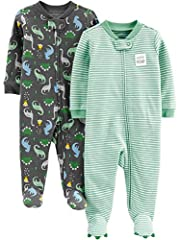 Full-zip or snap closures promise easier outfit changes in these footed sleep-and-play suits featuring whimsical designs.