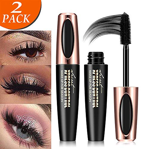 4D Silk Fiber Eyelash Mascara, Extra Long Lash Mascara and Thick, Long Lasting, Waterproof & Smudge-Proof, All Day Exquisitely Lush, Full, Long, Thick, Smudge-Proof Eyelashes - 2Pcs (Best Mascara For Long Lashes)