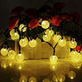 TOHUSE Outdoor Solar String Lights - Waterproof Christmas Globe Lighting Decorations for Garden Path, Party, Bedroom Decoration Size 20ft 30LED Color Moonlight