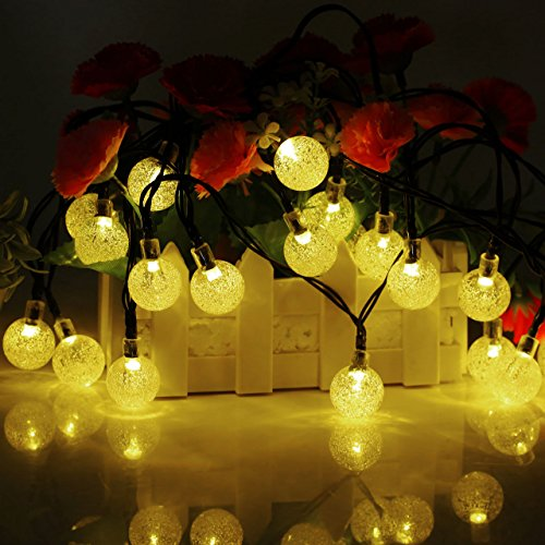TOHUSE Outdoor Solar String Lights - Waterproof Christmas Globe Lighting Decorations for Garden Path, Party, Bedroom Decoration Size 20ft 30LED Color Moonlight (Cheapest Metal Detector)