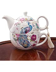 Bits and Pieces - Tea for One Peacock Porcelain Teapot and Cup Set - Elegant Peacock Design with Delicate Tassel on Teapot Handle Makes Great Decoration - Includes Decorative Gift Box