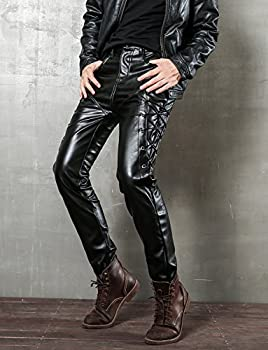 Skinny Fit Lace Up Men Leather Pants