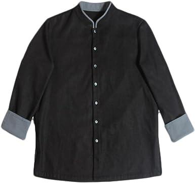 Camisa De Manga Larga para Hombres Cuello Estilo Chino Espesa La Camisa Top Informal Suelto, Black-4XL: Amazon.es: Ropa y accesorios