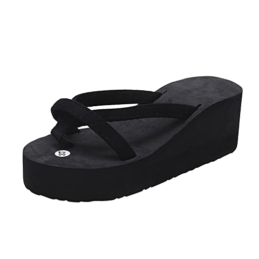 697786629bb65f Sunyastor Womens Platform Wedge Flip Flops Thong Shoes Mid Heel Cross Strap  Summer Comfortable Beach Sandals