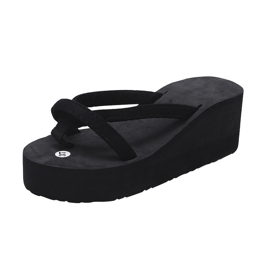 Sunyastor Womens Platform Wedge Flip Flops Thong Shoes Mid Heel Cross Strap Summer Comfortable Beach Sandals Outdoor Slippers Black