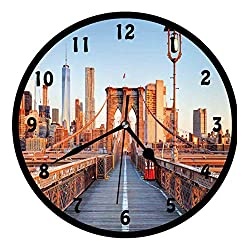 City, New York Skyline Closeup Brooklyn Bridge in Manhattan Over Hudson River,Wall Clock Nice For Gift or Office Home Unique Decorative Clock Wall Decor 12in with Frame, Orange Pale Blue Grey