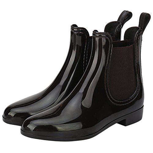 ALEXIS LEROY Womens Short Chelsea Ankle Elastic Design Round Toe Slip On Puddle Rain Boots Brown 40 M EU / 9-9.5 B(M)US