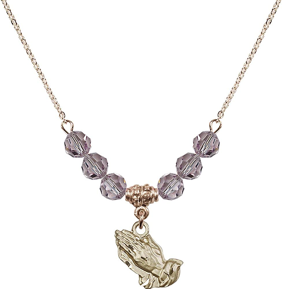 18-Inch Hamilton Gold Plated Necklace with 6mm Light Amethyst Birthstone Beads and Gold Filled Praying Hands Charm.