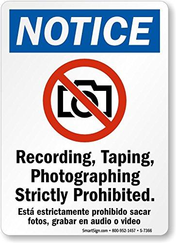 Amazon.com: Taping fotografiar Estrictamente prohibido de ...