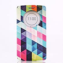 LG G3 Case, GOODTONY [Quick Circle Window] [Slim Fit] Premium [Cartoon Cute Printing] PU Leather Ultra Slim Flip Smart Cover for LG G3 (smile face) (Rhombus)