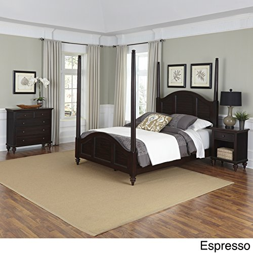 Home Styles Bermuda Poster Bed, Night Stand, and Chest (Queen Bed Espresso Finish Poster)