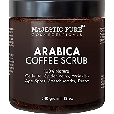 Majestic Pure Arabica Coffee Scrub, 12 Oz - Natural Body Scrub for Skin Care, Stretch Marks, Acne & Anti Cellulite Treatment, Helps Reduce Spider Veins, Eczema, Age Spots & Varicose Veins
