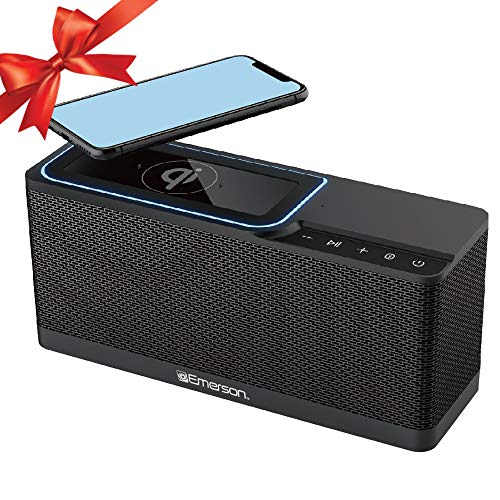 Emerson Portable Bluetooth Speaker, 20W Stereo with QI Wirel