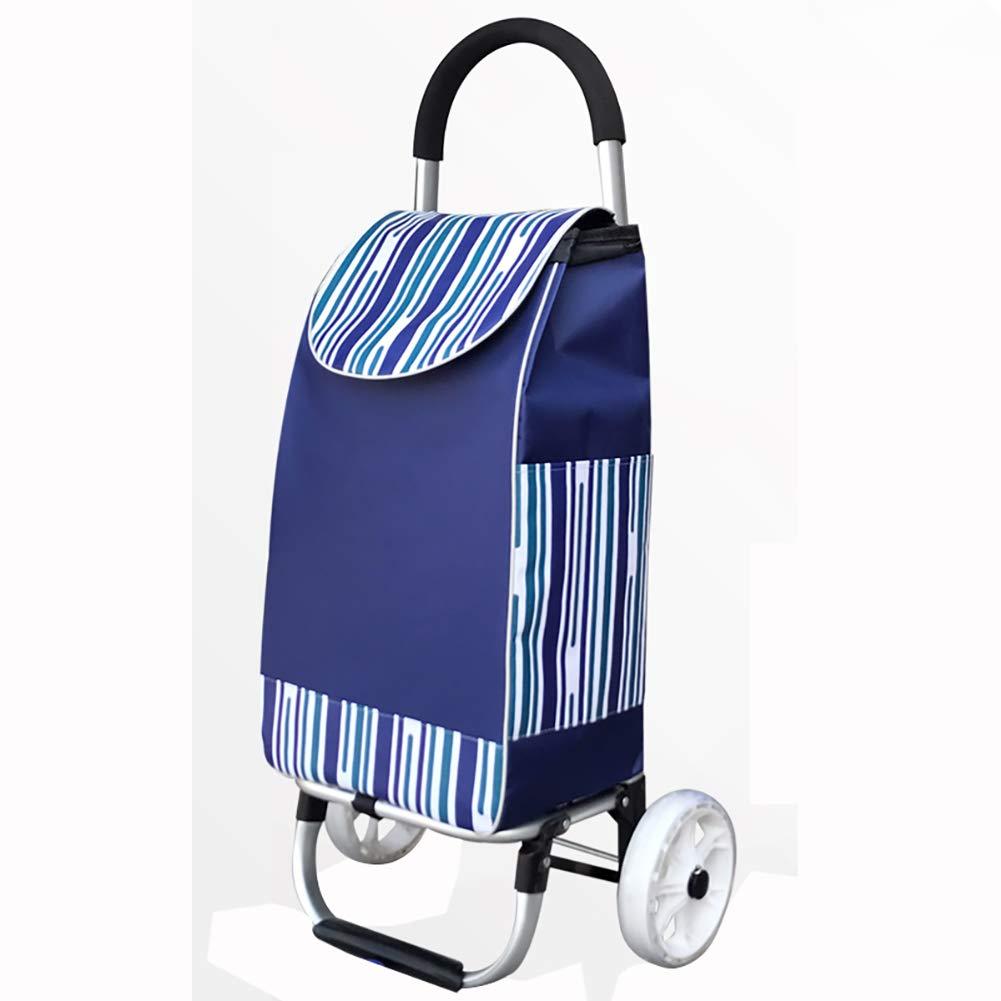 ショッピングトロリー、折りたたみ式トロリー、便利で実用的なトロリー、登山用トロリー B07QRS1597 Blue two wheel