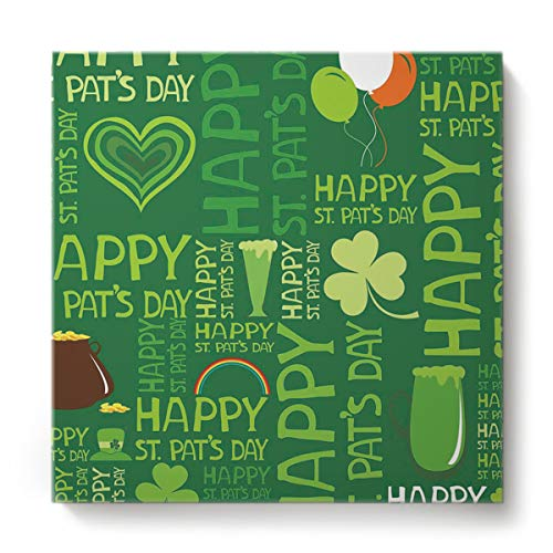 EZON-CH Canvas Wall Art Square Oil Painting Modern Artworks Office Home Decor,Happy St.Patrick's Day Balloon Cup Pattern Canvas Artworks,Stretched by Wooden Frame,Ready to Hang,36 x 36 Inch ()