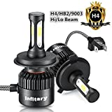 H4 Car Headlight 9003/HB2 Hi/Lo H7 LED Head light Bulbs 72W 6500K 8000LM 12V Infitary Auto Headlamp Dual Beam Head Light Extremely Super Bright COB Chips Replacement Halogen HID Bulbs Lights All-in-one Conversion Kit Accessory for Car 1 Pair (H4 Car Headlight 9003/HB2 Hi/Lo)