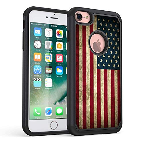Rossy iPhone 7 Case, iPhone 8 Case, Retro Vintage Old USA American Flag Design Shock-Absorption Hybrid Dual Layer Armor Defender Protective Case Cover for Apple iPhone 7 (2016) / iPhone 8 (2107)