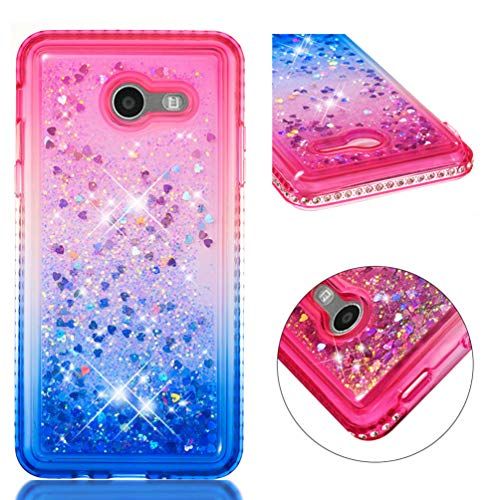 ase 2017, MOTIKO Fashion Design Shiny Gemstone Rhinestone Bling Glitter Sparkle Flowing Liquid Quicksand Moving Sequins Protective Soft TPU Rubber Cover - Powder Blue Gradient ()