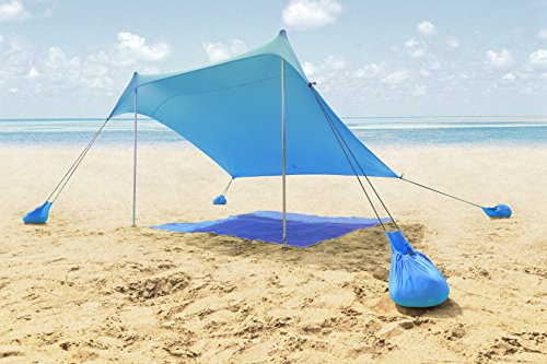ALPHA CAMP Beach Shade Portable Canopy Sun Shelter with Sandbag Anchors - 7.6' x 7.2' Blue