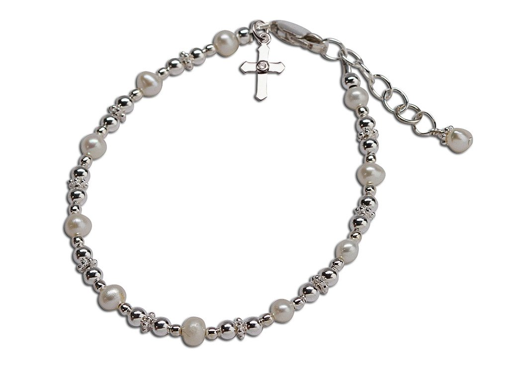 Children's Sterling Silver Baptism and First Communion Cross Bracelet with Cultured Pearls