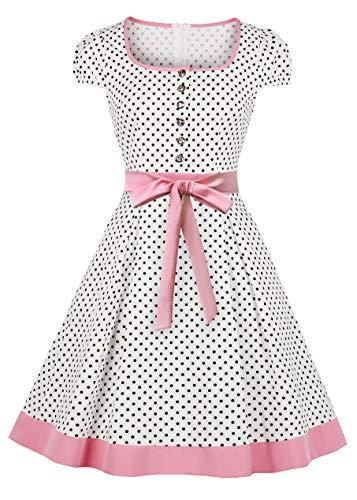 Nihsatin Women's Square Neckline Polka Dots Front Buttons Vintage Swing Tea - Dress Square Neckline