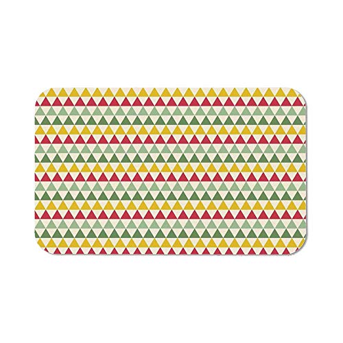 Retro Natural Rubber Pad,Colorful Triangles Sharp Edged Geometric Shapes in Horizontal Line for Office &Hone Computers,11.81''Wx27.56''Lx0.08''H (Geometric Inflatable Shapes)