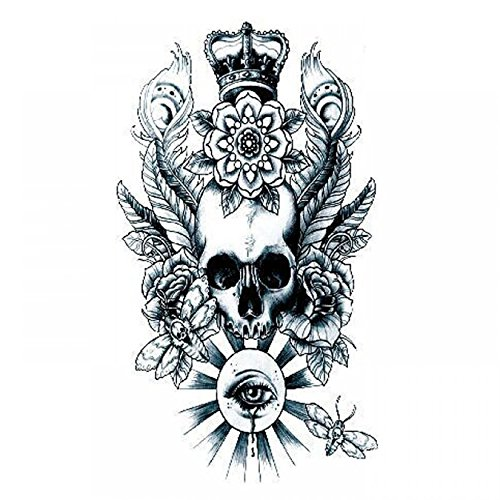 GGSELL Halloween Tattoo for men and women skull with roses and eyes temporary tattoo (Skull Halloween Makeup Male)
