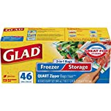 zip lock freezer - Glad Food Storage and Freezer 2 in 1 Zipper Bags - Quart - 46 Count