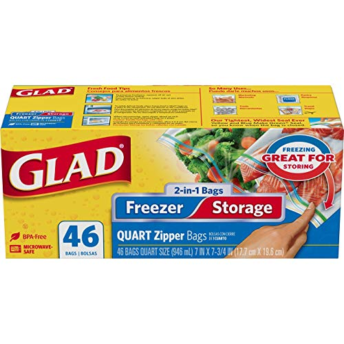 Glad Food Storage Bags, 2 in 1 Zipper, Quart, 46 Count