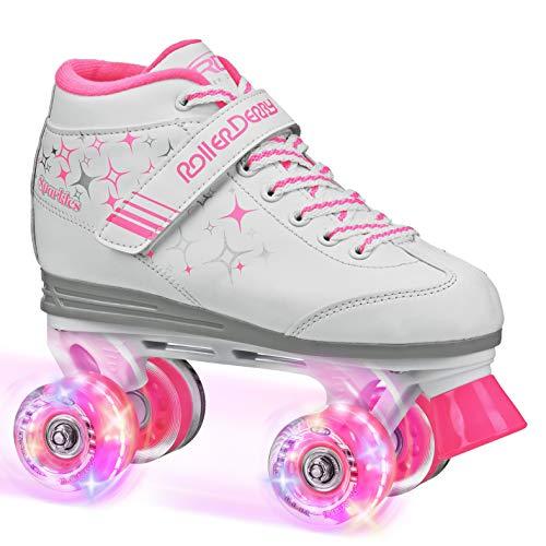 Roller Derby Girls Sparkle Lighted Wheel Roller Skate, White, Size 4