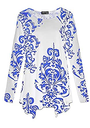 Oritina Women's Fall Swing Long Sleeves Basic T Shirt Plus Size Blouse Loose Paisley Casual Tunic Top for Leggings Paisley Blue XL
