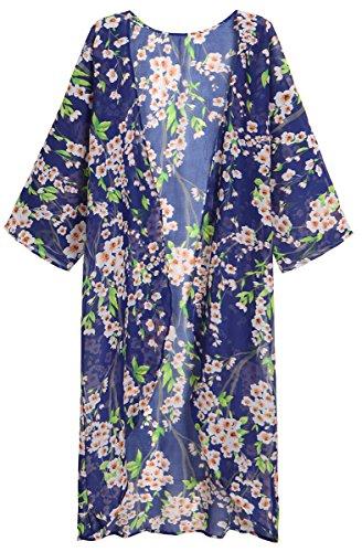 a991e43483 Olrain Women's Summer Long Cover Up Chiffon Kimono Cardigan Plus Size Capes  4X-Large Blue