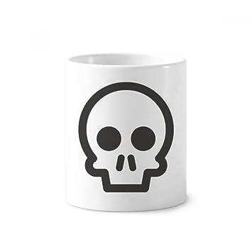 DIYthinker Esqueleto divertido lindo OnlineChat.Thanks Emoji cerámica titular taza del cepillo de dientes de